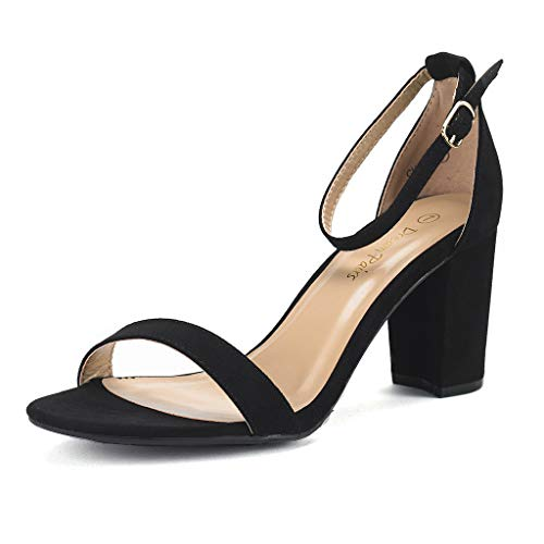 DREAM PAIRS Women's Chunk Black Suede Low Heel Pump Sandals - 9.5 M ()