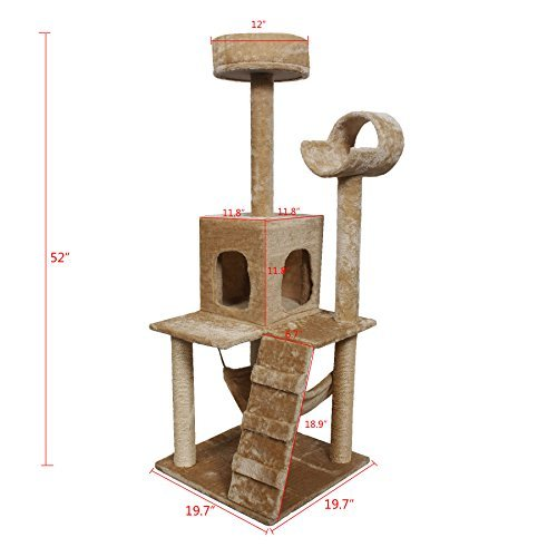 Inlifiny 52'' Cat Tree Activity Tower Condo Play Toy Scratch Post Kitten Pet House