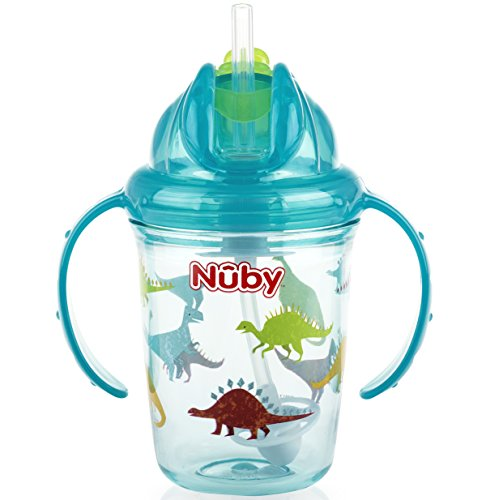 (Nuby 2-Handle Printed No-Spill Tritan Thin Straw Flip n Sip Cup with 360 Weighted, Aqua Dinosaurs, 8 Ounce)