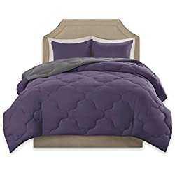 Comfort Spaces – Vixie Reversible Goose Down Alternative Comforter Mini Set - 2 Piece – Purple and Charcoal – Stitched Geometrical Diamond Pattern – Twin/Twin XL Size, Includes 1 Comforter, 1 Sham