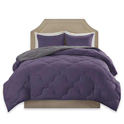 Comfort Spaces – Vixie undoable Goose the process down diverse variety Comforter minuscule Set - 3 Piece – Purple and Charcoal – Stitched Geometrical Diamond Pattern – Full/Queen Size, comprises 1 Comforter, 2 Shams