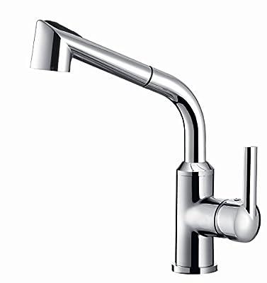 Aquafaucet Pull Out Spray Kitchen Sink Faucet Swivel Spout Single Handle Chrome WET SINK BAR FAUCET