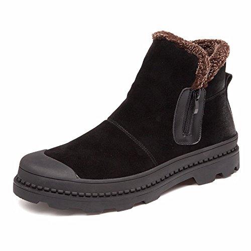 suela gruesa de HL cálidos PYL Retro botas altas con botas botas 38 Martin botas negro zapatos cachemir pxqXYqR
