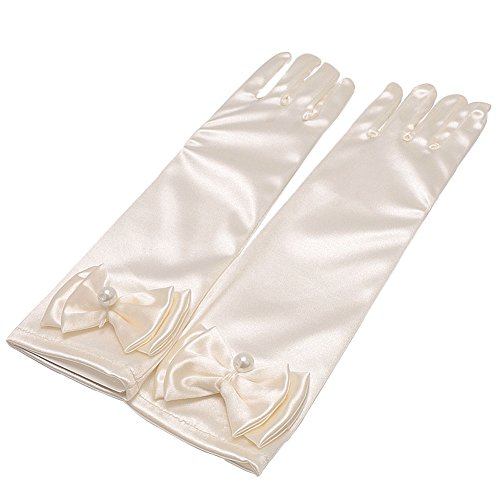 Lusiyu Girl Solid Color Long Elbow Length Formal Pageant Glove (Cream White)