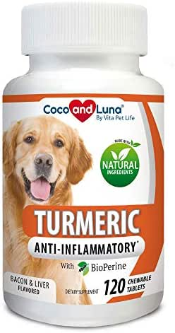 Vita Pet Life Turmeric for Dogs - Curcumin and BioPerine Anti Inflammatory Supplement, Antioxidant, Promotes Pain Relief, Prevents Joint Pain and Inflammation - 120 Natural Chew-able Tablets