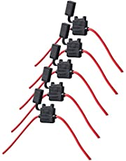 HOUTBY 5Pcs Gauge ATC Fuse Holder Box In-Line AWG Wire Cable Copper 12V 30A Blade Standard Plug Socket