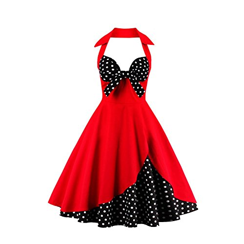Suroomy Vintage Dress Red Polka Dots Homecoming Dress Women1950s Retro Cocktail Dress (Polka Dots, M) - Gown Halter Print
