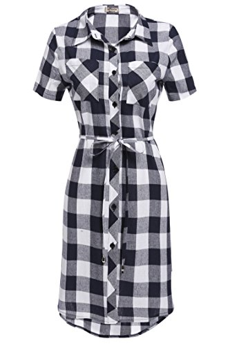 Buy belted plaid dress - 8