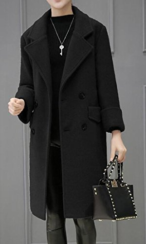 Breasted Blend Double Lapel Black Coat UK Womens Wool Mid Length today Jacket SIwXYq1ZWn