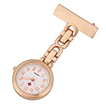 ShoppeWatch Nurses Lapel Pin Watch Analog FOB Infection Control Watch Rose Gold NW-237