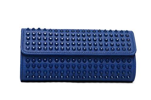 Bolso de Staples, bolso de hombro, bolso de tarde de moda, bolso de mano del remache, bolsos de la manera, bolso de mano ( Color : Rojo ) Azul zafiro