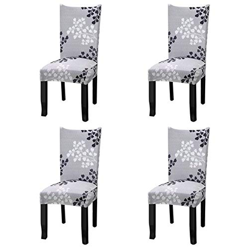 (Fuloon Super Fit Stretch Removable Washable Short Dining Chair Protector Cover Seat Slipcover for Hotel,Dining Room,Ceremony,Banquet Wedding Party (4 Per Set, A))