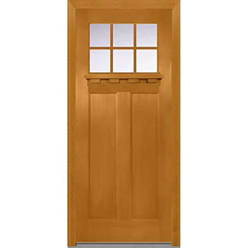 National Door Company Z006254R, Fiberglass Fir, Fruitwood, Right Hand In-swing, Exterior Prehung Door, Craftsman 2-Panel with Dentil Shelf, 36'' x 80'' by National Door Company