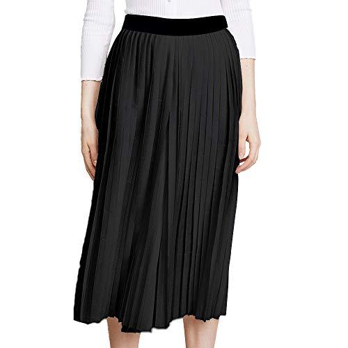 - BOANGE Women's Swing Chiffon Pleated Skirt High Waist Solid Colored (Black, Small)