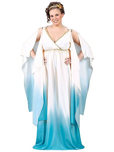 Women's Plus Size White and Blue Greek Goddess Costume (Plus Size Greek Goddess Costume)