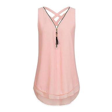 fdece42402059 XuBa Plus Size S-5XL Women Tops Summer Sleeveless Blusas Criss Cross Chiffon  Shirt Fashion V-Neck Blouse WS7080X at Amazon Women s Clothing store