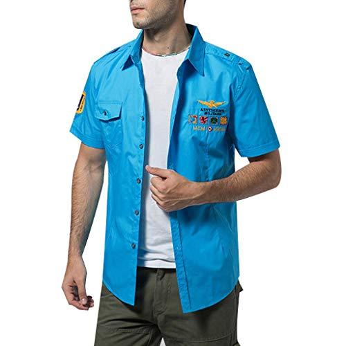 Fastbot Big Sale! Men's Summer Fashion Solid Color Embroidered Military Pocket Short Sleeve T-Shirt Sky Blue