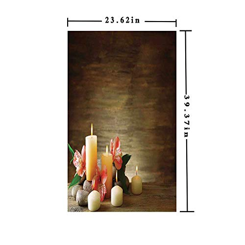 Decorate Unity Candles - Window Films Privacy Decorate 3D No Glue Static,Spa Composition with Many Candles Wellbeing Unity and Neutrality Icons Calm Happiness Home Decor,W15.7xL63in,No Glue Static Cling Glass Sticker with Mu