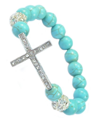 PURPLE WHALE Stretchable Sideways Cross Bracelet with Blue Created-Turquoise Beads & Crystal Cross - 91058 (Whale Purple)