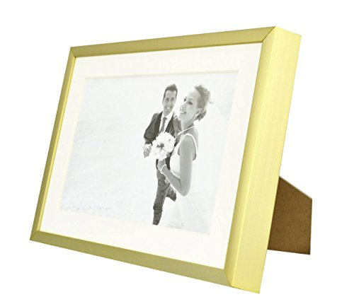 Frametory,5x7 Gold Aluminum Metal Table Top Photo Frame with