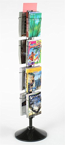 (60 Inch Rotating Wire Magazine Rack with Eight Pockets, Includes Sign Holder - Black)