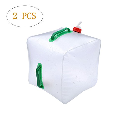 [2 PACK] Collapsible Water Container - 5 Gallon/20L Portable Cube Water Bag - Food Grade PVC Outdoor Water Storage for Camping Hiking Climbing