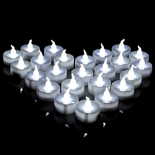 Long Lasting Tealights, AGPtek 100 Battery-Operated No flicker Steady LED Candles Flameless for Wedding Party (Cool White) (Lights Tea)