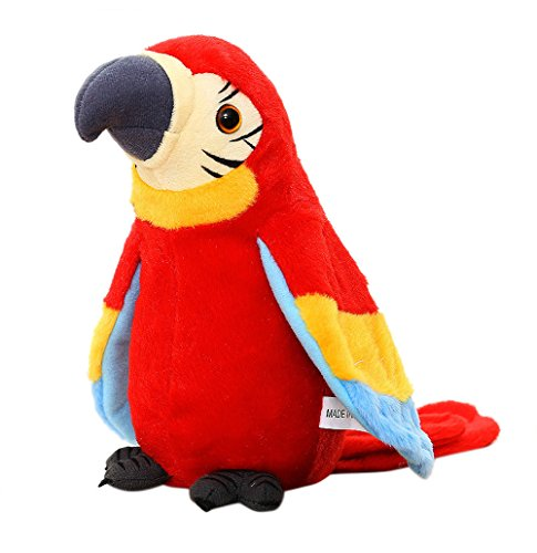 Talking Parrot Stuffed Animal Repeat What You Say Plush Parrot Toy Electronic Bird Talking Pet Interactive Stuffed Parrot Animal Toy for Children ()
