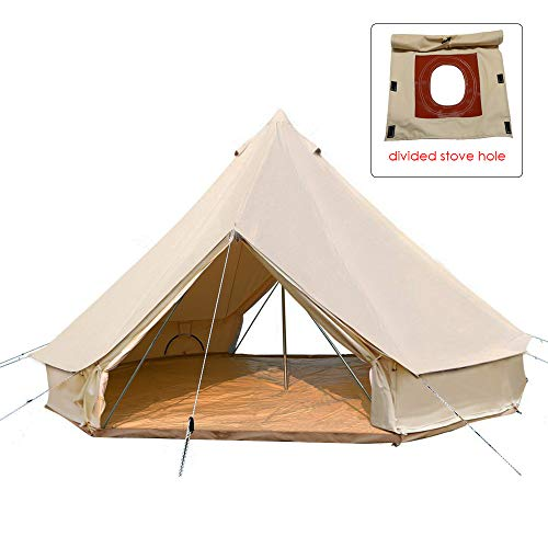 PlayDo 4-Season Camping Cotton Canvas Bell Tent Wall Hunting Tent with 2 Doors and Stove Jack Hole (with Divided Stove Hole, 4M/13.1ft)