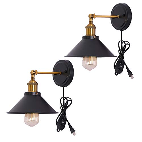 Kingmi Dimmable Metal Wall Sconce 2-Pack UL Black Hardwire Industrial Vintage Wall Lamp Fixture Simplicity Arm Swing Wall Lights (Yellow) (Brass Two Light Wall Lamp)