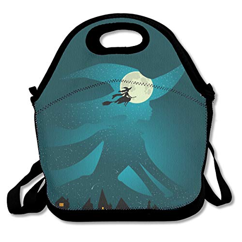 Pattonef Halloween Witch Flies On Broomstick Full Moon Personalized Insulated Neoprene Lunch Bag Unisex Suitable for Office Workers ()
