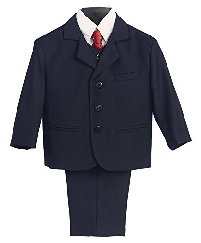 5 Piece Navy Blue Suit with Shirt, Vest, and Tie, Navy, ()