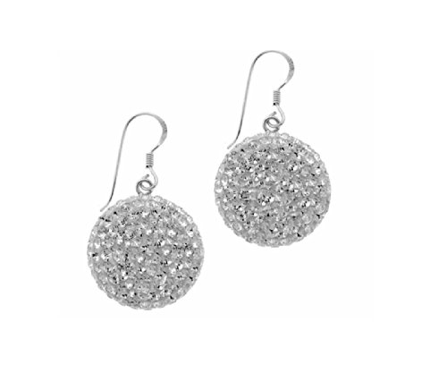 Sterling Silver & Pave Crystal Ball Dome Earrings-20mm ()