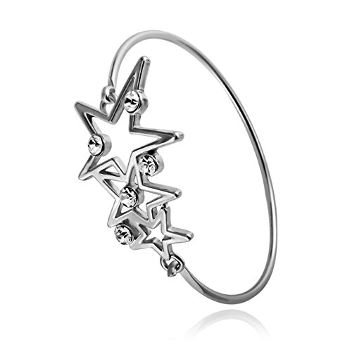 - RUXIANG Crystal Three Stars Bangle Cuff Hook Opening Bracelet Jewelry (Silver)