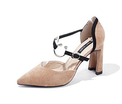 KUKI Dick mit Wildleder Kampf Farbe Wort wies spitz weiblichen Sandalen High Heels Schuhe 2