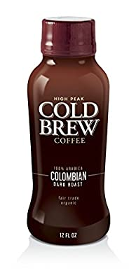 "High Peak 513310 Cold Brew Coffee, Fair Trade Organic 100% Arabica Columbian Dark Roast, 12 fl. oz., 5"" Height, 2"" Width, 2"" Length (Pack of 12)"