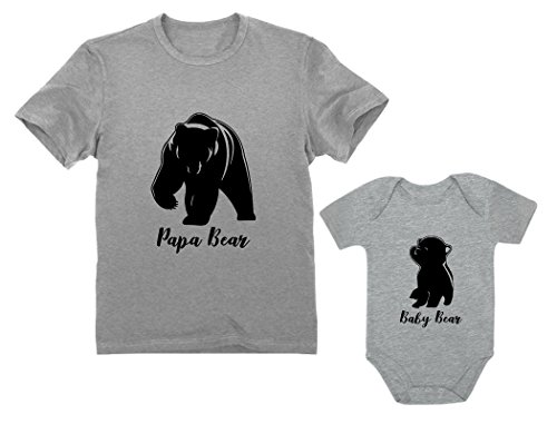 Papa & Baby Bear Men's T-Shirt & Baby Bodysuit Outfit Father & Son Matching Set Dad Gray X-Large/Baby Gray 6M (3-6M)]()