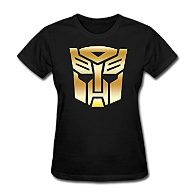 Transformers Autobot Vinyl Decal Gold Logo Women's Cotton T-shirt Black
