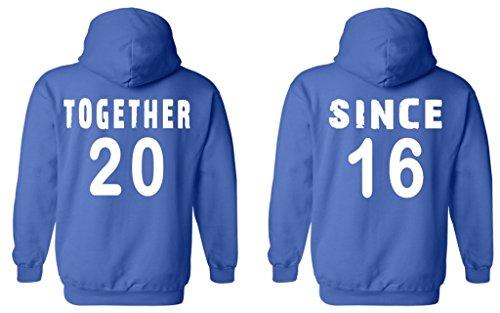 Shop4Ever Couples Matching Shirts Together Since 2016 Hoodie -- Men Medium R. Blue// Women Medium R. - 2016 Rb