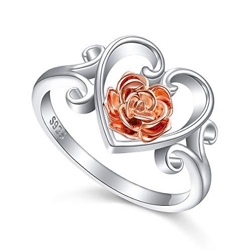 ALPHM S925 Sterling Silver Heart Rose Flower Ring for Women Girl Jewelry