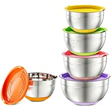 Hexun 5 Piece Stainless Steel Mixing Bowl Set with Colorful Lids, Non Slip Colorful Silicone Bottoms with Thickening and Volume Measurements Salad Bowls/Egg Beating Bowls (Thickening Colorful)