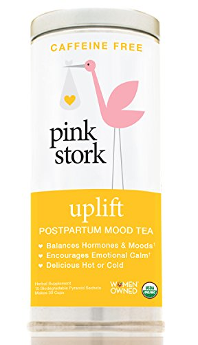 Pink Stork Uplift: Postpartum Mood Tea -USDA Organic Loose Leaf Herbs in Biodegradable Sachets, Balances Hormones, Encourages Emotional Calm, Restores Nutrients -30 Cups, Caffeine Free by Pink Stork
