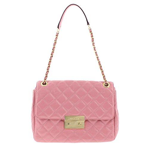 Michael Kors Womens Sloan Patent Leather Quilted Shoulder Handbag Pink Medium