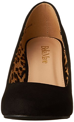 Bella Marie Womens Nine-5 Classic Amandel Toe Middelste Wig Pump Slip-on Schoenen Zwart