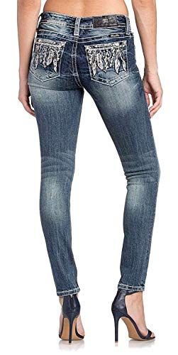 Miss Me Feather Arrow Skinny Jeans in Medium Blue Medium Blue 34 from Miss Me