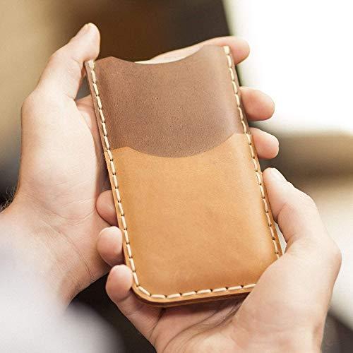 e41c0ff8818 Café claro y Marrón oscuro Estuche Billetera Funda De Cuero para iPhone 8 7 6  6s