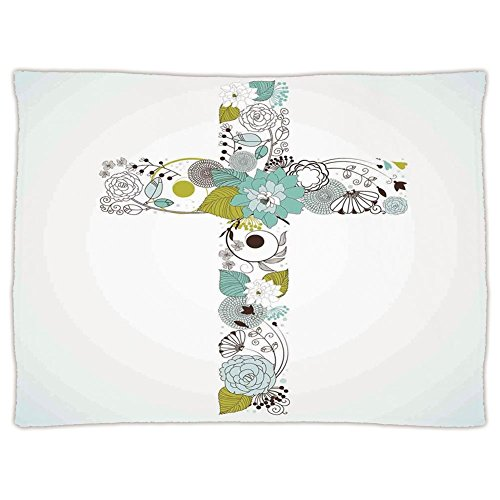 Super Soft Throw Blanket Custom Design Cozy Fleece Blanket,Baptism,Cross Made from Flowers Blessing Blossom newborn Catholic Party Illustration,Seafoam Avocado Green,Perfect for Couch Sofa or Bed by iPrint