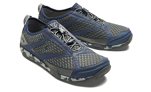 Blue Shoes Trainers - OluKai New Men's 'Eleu Trainer Water Shoe Charcoal/Trench Blue 9.5