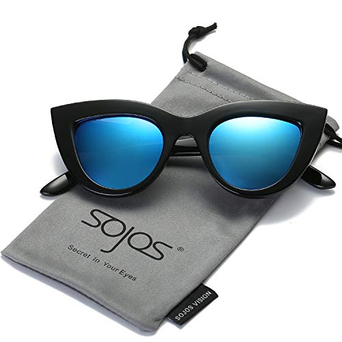 SojoS Retro Cat Eye Women Sunglasses 60's Fashion Thick Frame Mirror Lens SJ2939 With Black Frame/Dark Blue Mirrored -
