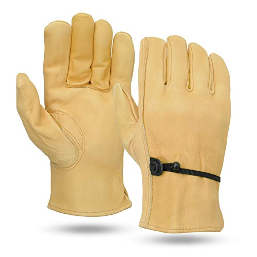 Illinois Glove Company 20MB Water Repellent Cowhide Glove, With Adjustable Ball & Tape Closure, M, Tan, Unlined Ball Soft Brown Gloves